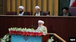 Ayatollah Ahmad Jannati speaker of the Assembly of Experts, addresses a meeting of the newly-elected assembly in Tehran, May 24, 2016