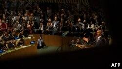 اوباما در حال سخنرانی در نشست سازمان ملل