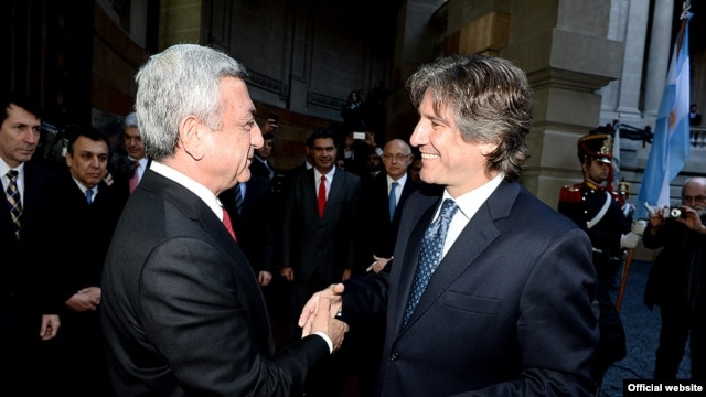 Argentina -- President of Armenia Serzh Sarkisian (L) and Vice President of Argentia Amado Boudou met in Buenos Aires, 07 Jul, 2014