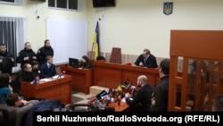 Заседание Вышгородского районного суда Киевской области, во время которого избрали меру пресечения Юрию Россошанскому