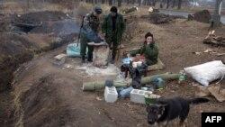 Ռուս անջատականների հենակետը Դոնեցկի մոտակայքում, 13-ը նոյեմբերի, 2014թ.
