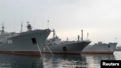 Ships from Russia's Black Sea Fleet moored in the Crimean port of Sevastopol.