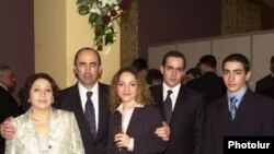 Armenia -- Former President Robert Kocharian with his wife and children.