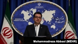 Iran -- Abbas Mousavi, the spokesman for Iran's Foreign Ministry, gives a press conference in the capital Tehran on May 28, 2019.