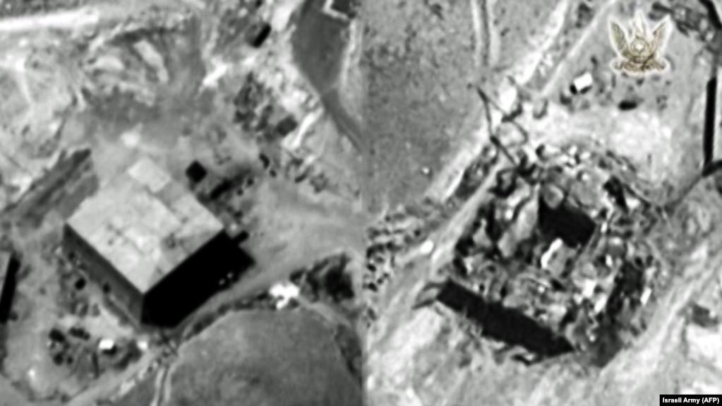 Комбинация фотоснимков, предоставленных ЦАХАЛ 20 марта 2018 года. Слева изображен объект до налета 6 сентября 2007 года, справа - после