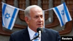 Israeli Prime Minister Benjamin Netanyahu on an official visit to Lithuania on August 24.