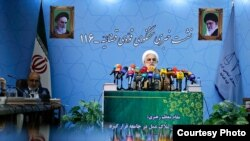 Iranian Judiciary Spokesman Gholamhossein Mohseni-Ejei in a press conference on August 20, 2017 in Tehran