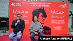 Режиссер Рашид Нугманов и сценарист Бахыт Килибаев представляют отреставрированный фильм «Игла». Алматы, 24 июля 2018 года.