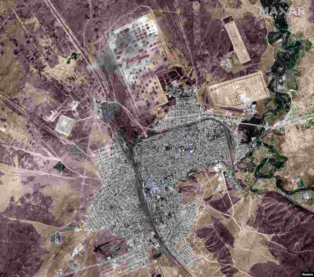 Kazakhstan - View of a town of Arys and munitions depot after blasts, in southern Kazakhstan, on this handout satellite image released on June 25, 2019. Satellite image ©2019 Maxar Technologies/Handout via REUTERS ATTENTION EDITORS - THIS IMAGE HAS BEEN