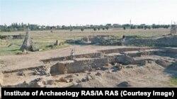 Lucrări de excavare la Kara-Tobe, în 2020.