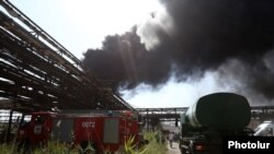 Armenia - massive fire after explosion is in 'Nairit 1' plant in Yerevan, Armenia, 28 Aug, 2017