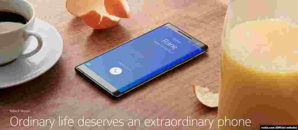 Nokia 8 Sirocco «Звичайне життя заслуговує на надзвичайний телефон», – так презентує Nokia свій новий смартфон на офіційному сайті. Телефон працює на системі Android та хизується своїм 5,5-дюймовим екраном та подвійною камерою. Девайс вийде в світ у квітні.