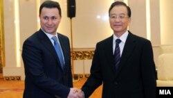 Премиерот Никола Груевски се сретна со неговиот кинескиот колега Вен Џиабао во Пекинг.