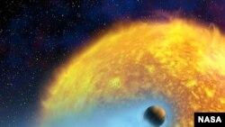 Голубой плащ Озириса. Планета пролетает над диском звезды, за ней тянется мощный водородный хвост. ESA, NASA. Реконструкция Alfred Vidal-Madjar.