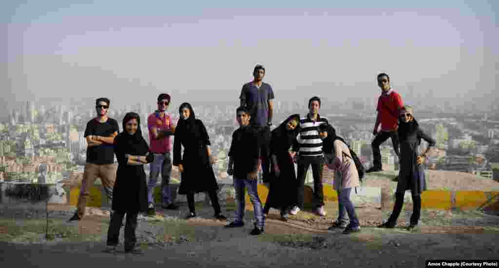 A group of friends in the hills above Tehran. Chapple reports that many young Iranians feel deeply embarrassed by their government and the way the nation is perceived abroad.