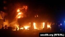 Пожар в магазине ковров в Намангане.