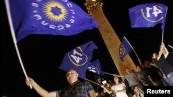 Грузин оппозициясы шайлоодогу жеңишин майрамдап жаткан учур. 1-октябрь, 2012 -жыл.