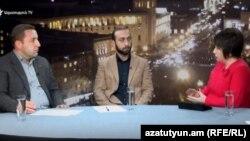 Կարեն Ավագյանը և Արարատ Միրզոյանը «Ազատության» տաղավարում, 1-ը փետրվարի, 2018 թ․