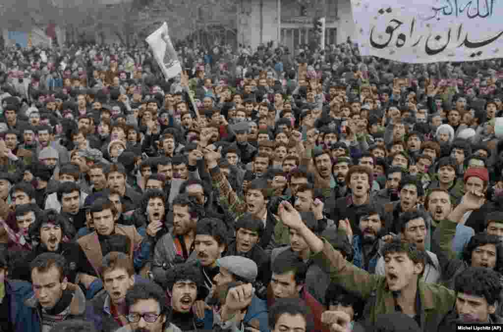 Despite the declaration of martial law, thousands of defiant demonstrators continued to flood the streets of Tehran on October 9, 1978, to protest against Iran's Shah, Mohammad Reza Pahlavi.