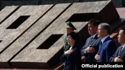 Kyrgyz officials including President Almazbek Atambaev attended the opening in Bishkek of a memorial to the 1916 Urkun uprising on September 2, 2016.