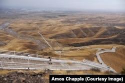 "A rare user of the ""walk of health"" that runs some 37 kilometers through the mountains around Ashgabat."