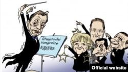 Caricatură a exceselor regimului Orban (courtesy: Michel Kichka blog)