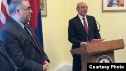 Президент Нагорного Карабаха Бако Саакян выступает с речью на приёме, организованном в Конгрессе США в связи с 30-летием Карабахского движения, Вашингтон, 14 марта 2018 г.