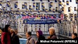 Zastave Bosne i Hercegovine u Titovoj ulici povodom Dana državnosti BiH, Sarajevo