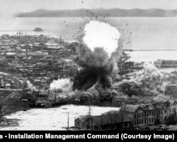 Supply warehouses blasted into rubble in Wonsan, North Korea, by a U.S. air strike in 1951.