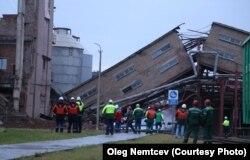 Обрушение старого здания ЦБК в Коряжме, 2018 г.