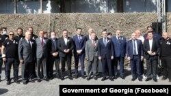 Ираклий Гарибашвили, Каха Кучава, Вахтанг Гомелаури на мероприятии, посвященном празднованию Дню ветеранов