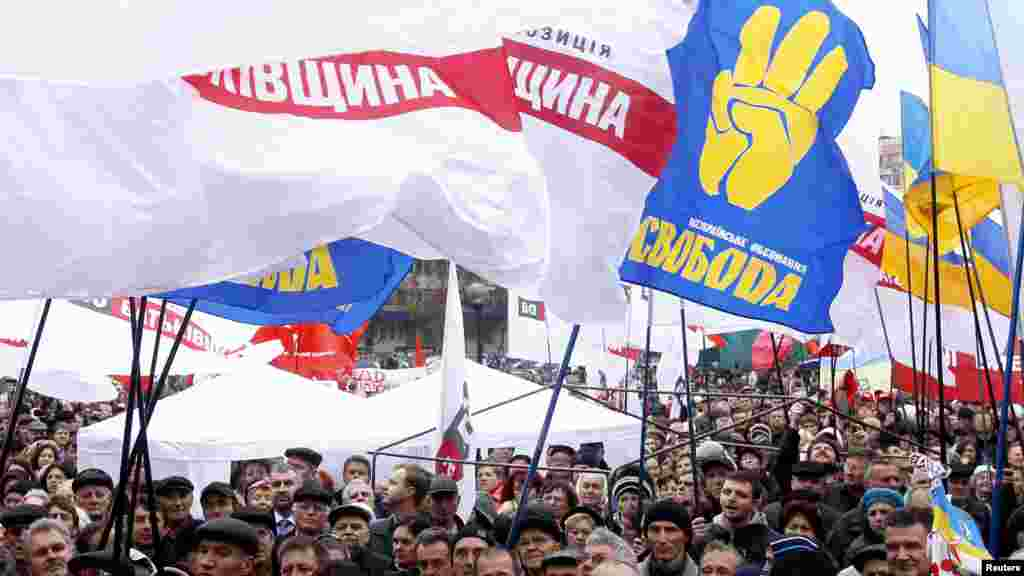 Protesters wave the flags of several opposition parties.