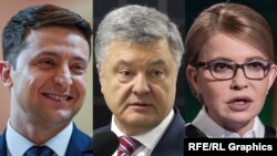 Кандидаты на выборах президента Украины Владимир Зеленский, Петр Порошенко (в центре) и Юлия Тимошенко.