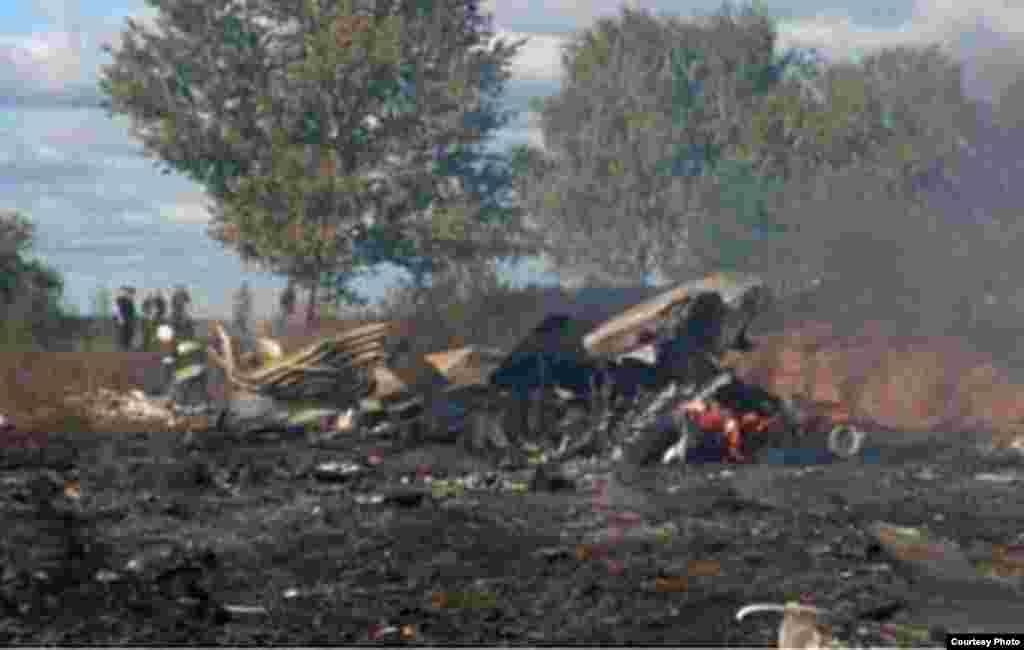 A video still of burning wreckage shortly after the plane crashed.