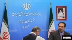 شمس الدین حسینی، وزیر امور اقتصاد و دارایی جمهوری اسلامی ایران در نشست خبری با خبرنگاران.