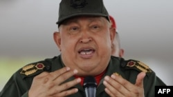 Venezuelan President Hugo Chavez delivers a speech in mid-October, when he declared himself cancer-free after medical tests in Cuba.