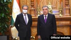 Встрреча президента Таджикистана Эмомали Рахмона с главой МИД Пакистана Шах Махмудом Курайши, Душанбе, 25 августа 2021 года