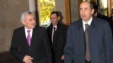 Armenia - President Robert Kocharian (R) and Defense Minister Mikael Harutiunian, 15 November 2007.