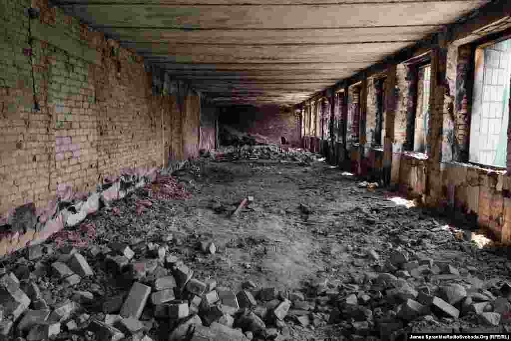The burned-out interior of the Dzerzhynsk regional administration building