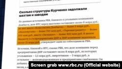 Скріншот з сайту rbc.ru