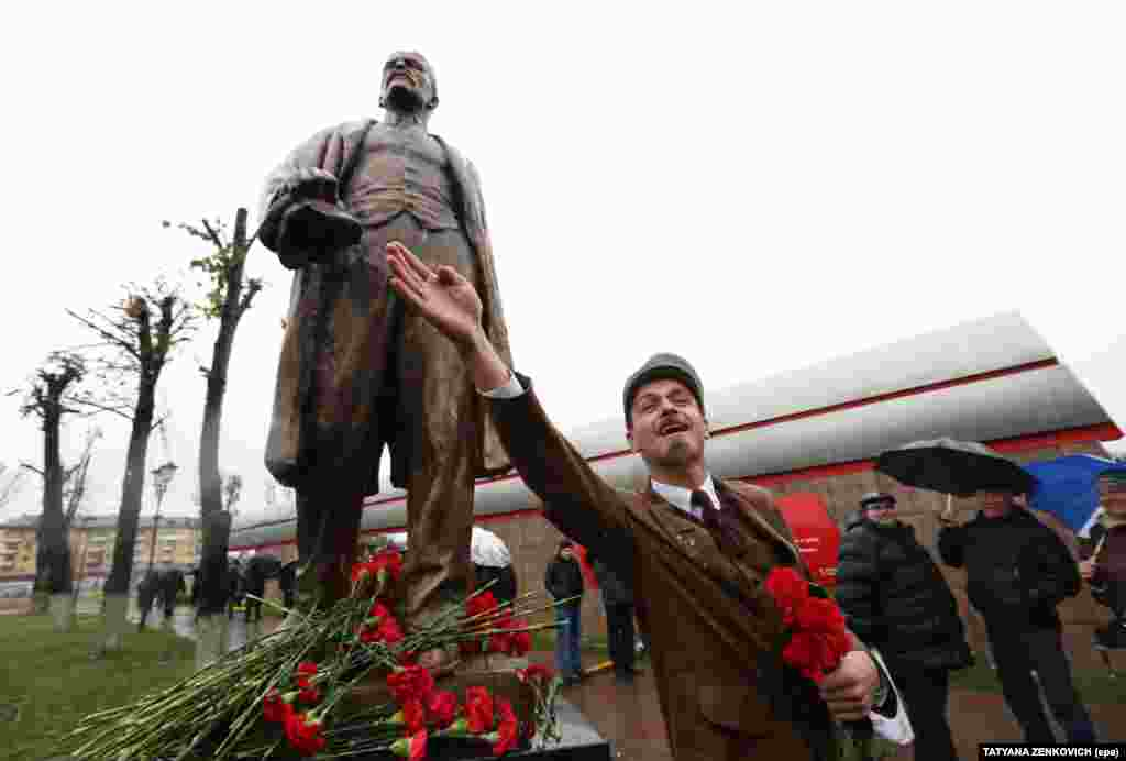 An actor dressed as Lenin -- leader of the Bolsheviks and later the Soviet Union -- addressed the crowd in Minsk.