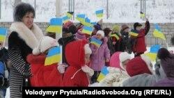 Флеш-моб, присвячений Дню Соборності України Сімферополь, 20 січня 2012 року