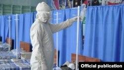 Коронавирус жұққан науқастарды емдейтін уақытша госпиталь. Көрнекі сурет.