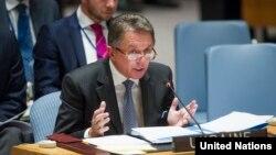 Постійний представник України в ООН Юрій Сергєєв виступає на засіданні Ради безпеки (листопад 2014 року)