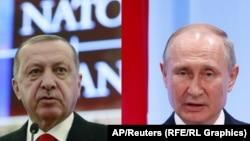 Түркия президенті Режеп Ердоған (сол жақта) мен Ресей президенті Владимир Путиннің суреттерінен коллаж.
