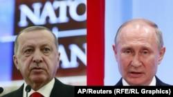 Президент Турции Реджеп Тайип Эрдоган (слева) и президент России Владимир Путин.