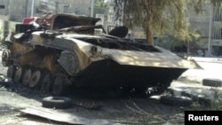 A gutted Syrian Army APC in Damascus