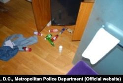 A police photo of Mikhail Lesin's room at the Dupont Circle Hotel following his death.
