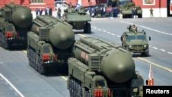 Rachete balistice intercontinentale RS-24 Yars/SS-27 Mod 2 la defilarea de 9 mai în Piața Roșie la Moscova