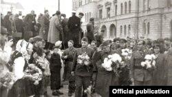 Macedonia - Liberation of Skopje in WWII, Metodij Andonov Cento, Dimitar Vlahov and Mihajlo Apostolski - 13Nov1944